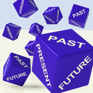 Past Present Future Dice Showing Evolution And Destiny
