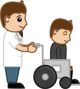 Patient On Wheel Chair - Medical Cartoon Vector Character