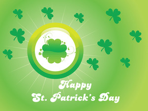 Patrick Day Card With Rays Background Illustration 17 March