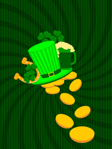 Patrick's Day Card With Ornaments. Vector