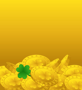 Patrick's Day Coins Banner Vector