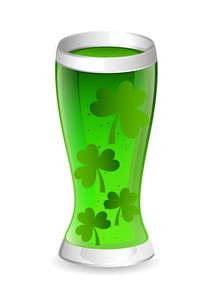 Patrick's Day Drink Glass With Shamrock Leaves