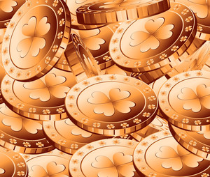 Patrick's Day Gold Coins Background