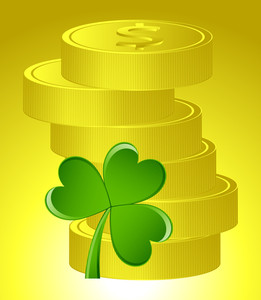 Patrick's Day Gold Coins With Shamrock