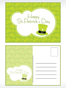 Patrick's Day Postcard With Hat Illustration