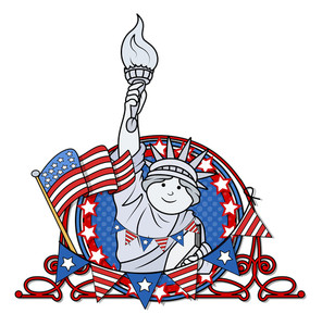 Patriotic 4th Of July Vector Statue Of Liberty