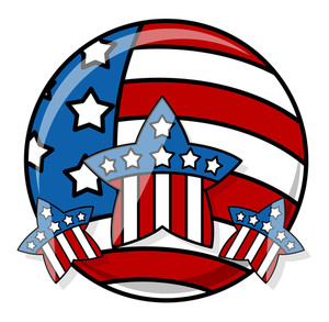 Patriotic Usa Flag Icon Vector Illustration