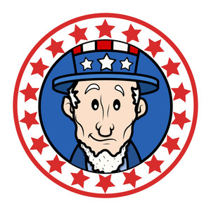Patriotic Usa Theme Circular Design With Abraham Lincoln Wearing Uncle Sam Hat Vector