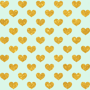 Pattern Of Gold Glitter Hearts On A Mint Blue Background