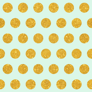 Pattern Of Gold Glitter Polka Dots On A Mint Blue Background