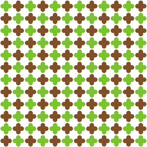 Pattern Of Green And Brown Quatrefoil On A White Background
