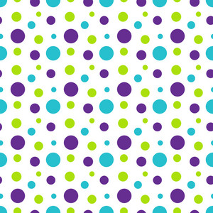 Pattern Of Green, Purple, And Blue Polka Dots On White Monster Paper
