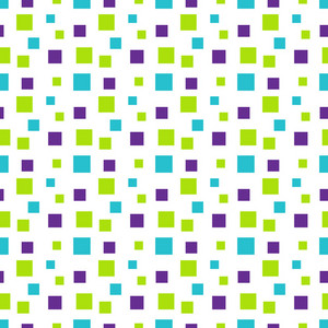 Pattern Of Green, Purple, And Blue Squares On White Monster Paper