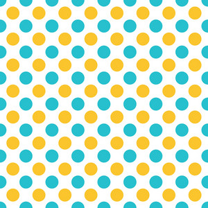 Pattern Of Lemon Yellow And Blue Polka Dots On A White Background