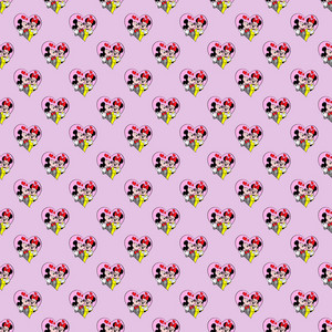 Pattern Of Mickey And Minnie Mouse On A Pink Background