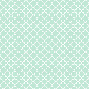 Pattern Of Mint Blue And White Quatrefoil