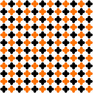 Pattern Of Orange And Black Quatrefoil On A White Background