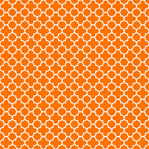 Pattern Of Orange And White Quatrefoil