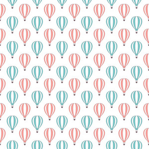 Pattern Of Pink And Blue Hot Air Balloons On A White Background
