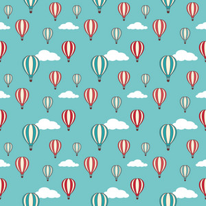 Pattern Of Red And Blue Hot Air Balloons On A Cloudy Background