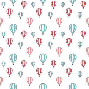 Pattern Of Red And Blue Hot Air Balloons On A White Background