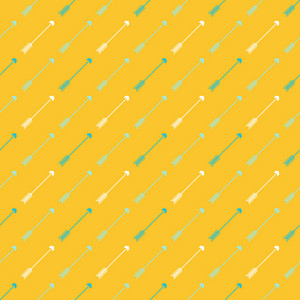 Pattern Of White And Blue Arrows On A Lemon Yellow Background