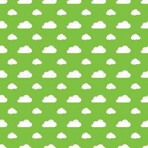 Pattern Of White Clouds On A Lime Green Background