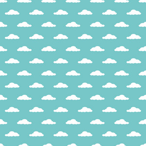 Pattern Of White Clouds On Blue Hot Air Balloon Paper
