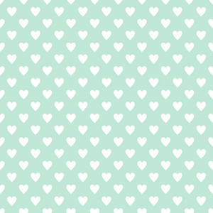 Pattern Of White Hearts On A Mint Blue Background
