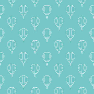 Pattern Of White Hot Air Balloons On A Blue Background