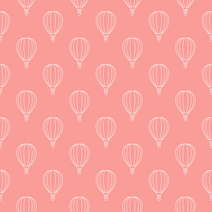 Pattern Of White Hot Air Balloons On A Pink Background