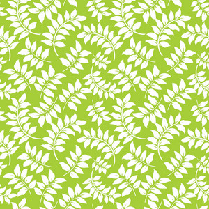 Pattern Of White Vines On A Lime Green Background