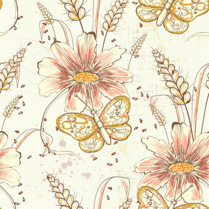 Pattern Vector Element With Vintage Flowers