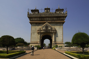 Patuxai monument in Vientiane capital of Laos