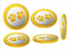 Paw Coins Vector Collection
