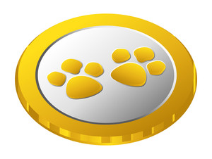 Paw Gold Coin Vector
