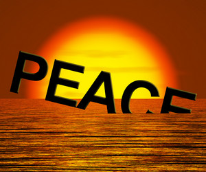 Peace Word Sinking Showing War And Conflict