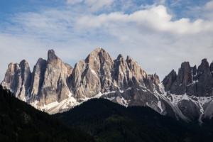 Peaks of the Odle-Geisler group in the South Tyrol, Italy.