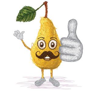 Pear Fruit Mustache