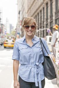 Pedestrian portrait in city