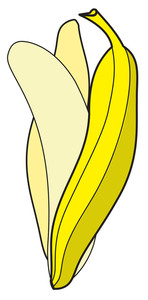 Peel Off Banana Drawing Vector