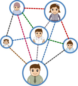 People Connected In Network  - Business Cartoon Characters Vector