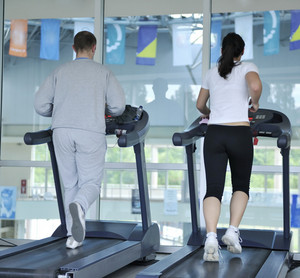 People running at fitness club