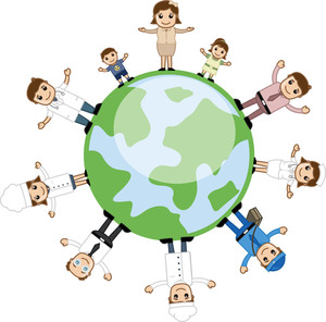 People Standing Around The Earth - Business Cartoon Characters Vector