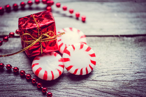 Peppermint Candies On Wooden Background
