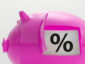 Percent In Piggy Shows Saving And Investment