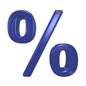 Percent Sign From Blue Glass Alphabet Set