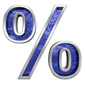 Percent Sign From Blue Glass Cast Alphabet Set