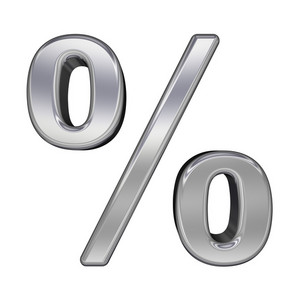 Percent Sign From Chrome Alphabet Set