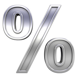 Percent Sign From Chrome With Frame Alphabet Set